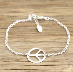 bracelet argent massif 925 peace and love