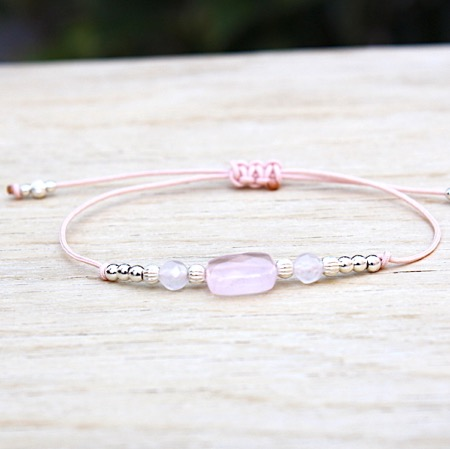 bracelet cordon rectangle quartz rose et perles argent 925