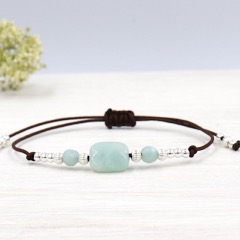 bracelet cordon rectangle amazonite et perles striées argent 925