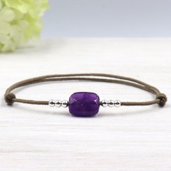 bracelet cordon rectangle amethyste et perles argent 925