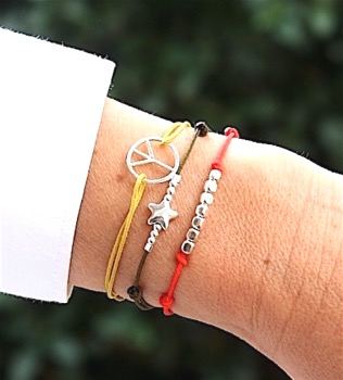 bracelet cordon argent 925 peace and love-Unbijouforyou